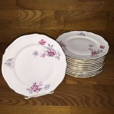 "12 Hutschenreuther Germany INGEBORG Red Floral ~ 7 3/4"" Salad Plates ~Excellent"