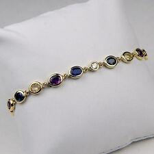 "Multi Colored Gem & Diamond Bracelet 18 kt Yellow Gold 7"" #A1180"