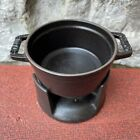 Staub .25Qt Mini Chocolate Fondue Cast Iron Black Pot Votive #3