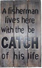 Fisherman's Best Catch - Wooden Wall Bar Sign Deck Man Cave Beach House