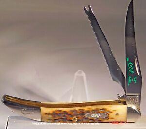 Case XX Antique Bone Peachseed Jig Fishing Pocket Knife New