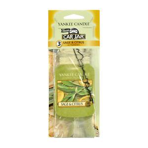 Yankee Candle Paper Car Jar Hanging Air Freshener Sage & Citrus Scent -3 Pack
