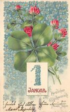 BG20333 clover flower 1 january embossed  new year neujahr   germany