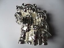 Silver Plated 'Teddy Bear Family' Money Bank, Christening Present