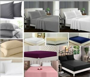 30cm Deep Fitted Sheets Flat Sheet Bed Covers Pillowcase 100% Cotton Bedding Set
