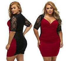 Ladies Sexy Black Burgundy Ruched Lace Illusion Plus Size Midi Dress 14 16 18 20