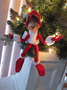 """Annalee Doll 10"""" Red Silver Sparkle Christmas Elf, 2013, Prestine. NMWT S-1"""