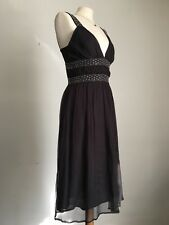 French Connection Charcoal Grey Beaded Layered Chiffon Dress Size 10