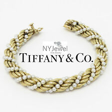 NYJEWEL Tiffany & Co. 14K Yellow Gold Classic Pearl Twisted Rope Bracelet