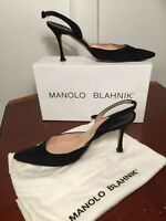 MANOLO BLAHNIK Carolyne Crepe Black Slingback Heels Sz 39.5 US 9 Original Box