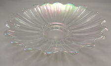 """FEDERAL GLASS Shallow Bowl Clear Iridescent Celestial Pattern 9¼"""" dia 1½"""" h VTG"""