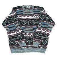Vintage MEGALOS Cosby Jumper   Sweater Knit 90s Hip Hop Patterned Top Australian