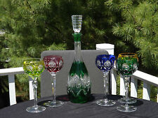 6 Pc Rainbow Cut Clear Crystal Hocks Colored Wine Glasses Goblets Decanter Set