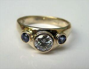 2Ct Round Diamond & Sapphire Men's 3-Stone Engagement Ring 14K Yellow Gold Over