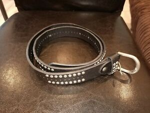Unisex Studded Silver Black Belt One Size to fit waist up to 32Rins to 34Rins