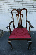 Queen Ann Mahogany Desk, Side Upholstered Armchair