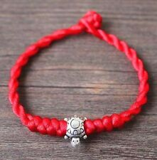 Feng Shui Red String Lucky Tibetan Silver Tortoise Charm Bracelet for Wealth