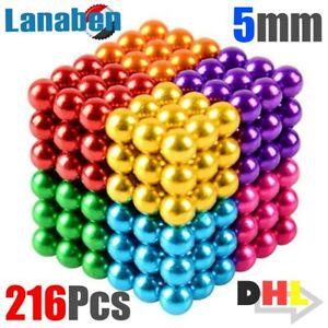216x 5mm Bunte Kugelmagnet Magnet Kugeln Anti Stress 3D Würfel Puzzle Spielzeug