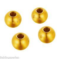 10 Edelstahl Rund Spacer Perlen Beads Kugeln zum Basteln Glatt Vergoldet 6mm L/P