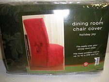 "NEW Bed Bath & Beyond Dining Room Chair Cover Holiday Joy RED New 42"" Tall"