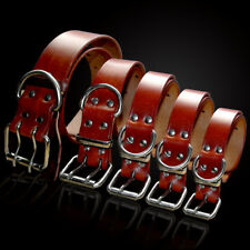 Heavy Duty Genuine Leather Dog Collars for Small Large Dogs Yorkie Rottweiler