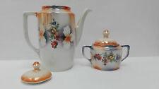 Juego de cafe porcelana, Set Tetera y Azucarero. I.G. Patentado.   Vintage.