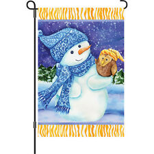 """""""Snowman and Owl"""" 12"""" Garden Flag by Premier"""
