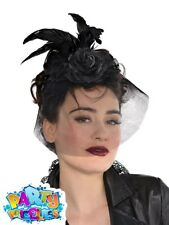 6942b56f6da94 Ladies Gothic Fascinator Hat Victorian Vampiress Halloween Fancy Dress  Womens