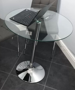 Small Glass Dining Table Round Kitchen Breakfast Bar Pedestal Metal Space Saving