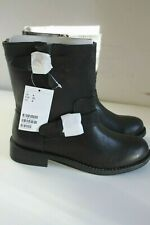 H&M Ladies Black Buckle Detail Biker Boots - Size: UK 4