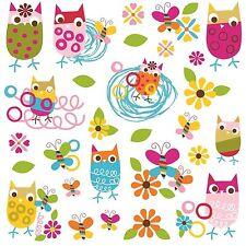 ZUTANO OWLS 27 BiG Wall Decals Pink Nursery Baby Room Decor Butterflies Animals