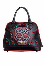 Women's Purple Mexican Candy Skull Gothic Punk Emo Handbag By Banned Apparel