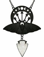 Restyle Crystal Crescent Moon Moth Quartz Gothic Punk Occult Emo Black Necklace