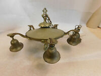 Vintage Ornate Brass Pan Ceiling 5 Arm Light Fixture Chandelier Art Deco Goth