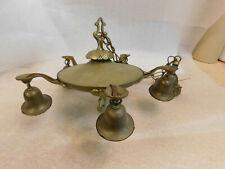 Vintage Ornate Brass Pan Ceiling 5 Arm Light Fixture Chandelier Art Deco Goth