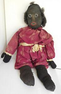 "Antique Circa 1890 Child Made 27"" African American Cloth Rag Doll"