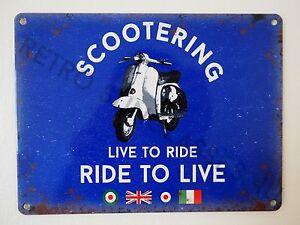 Scootering Piaggio Vespa Lambretta Small Scooter Retro Tin Sign Dad Mod Ska Gift