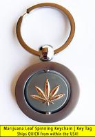 Cannabis Marijuana Weed Potleaf Spinning Keychain Key Tags Set of 2