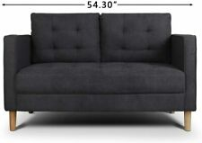 Modern Soft Cloth Tufted Cushion Loveseat Sofa Small Space Configurable Couch