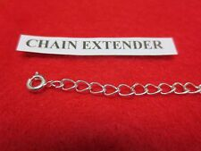 7 INCH 14KT WHITE GOLD PLATED 4MM NECKLACE EXTENDER WITH SPRING RING CLASP