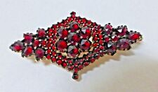 Estate Antique Bohemian Rose Cut Garnet Two Tier Brooch Pendant 1800's