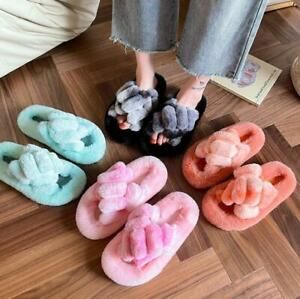 Thick-soled wool slippers women's large Size gradient color home cotton slipper