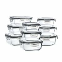 Set of 9 Pack Pyrex Glass Food Storage Meal Prep Containers with Lids & 9 sizes