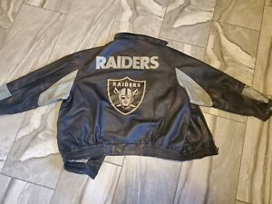 Vtg Carl Banks G-III Oakland Raiders Embroidered Leather Jacket XL