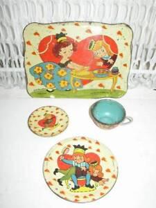Rare, 1942, Ohio Art, # 81 BK Benjamin, Queen of Hearts 4-pc Child's Tin Tea Set