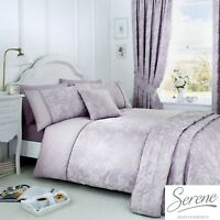 Serene Jasmine Jacquard Easy Care Duvet Cover Bedroom Range Lavender