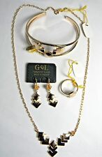 G&L Women's Gold Plated 4 Pieces Jewelry Set Necklace Bracelet Earring Ring Sets