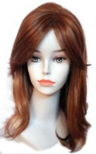 Medium Length Straight, Slightly Wavy Hair Wig with Wispy Bangs - Natural Look!