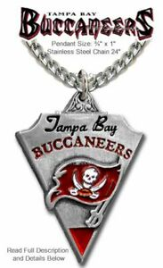 """TAMPA BAY BUCCANEERS NECKLACE 24"""" STAINLESS STEEL CHAIN NFL FOOTBALL FREE SHIP A"""