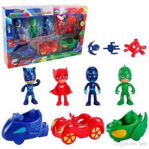 PJ Masks Action Figures Car Set of 7 Catboy Owelette Gekko Romeo Luna Night Ninj